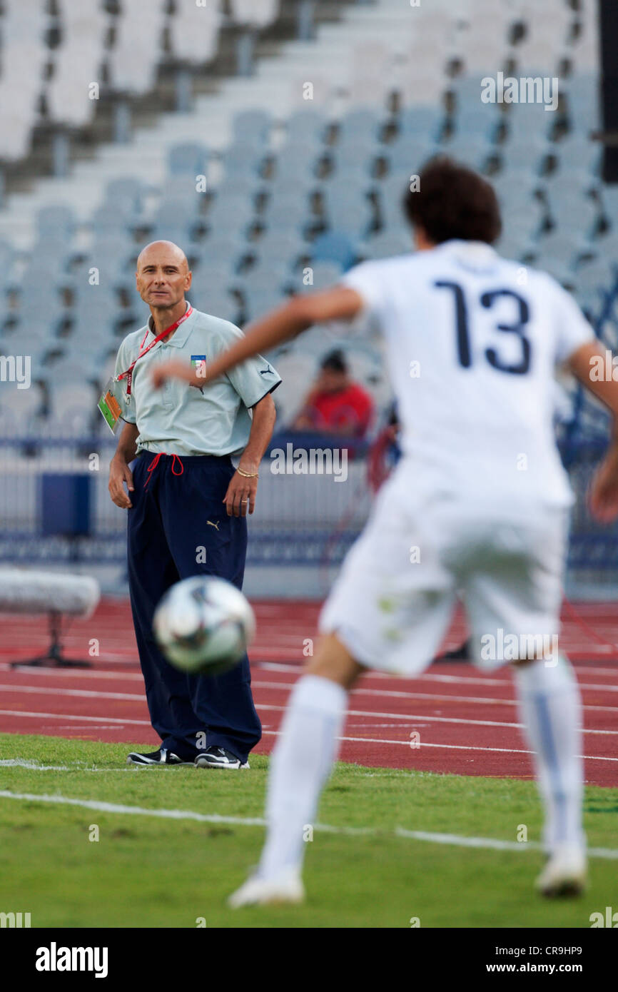 Italy head coach Francesco Rocca manages from the sidelines during a FIFA U-20 World Cup match against Paraguay. - Stock Image