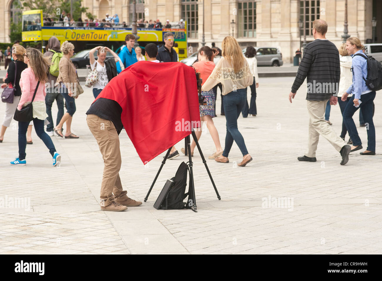 Paris, France - A photographer using a large format camera outdoors - Stock Image