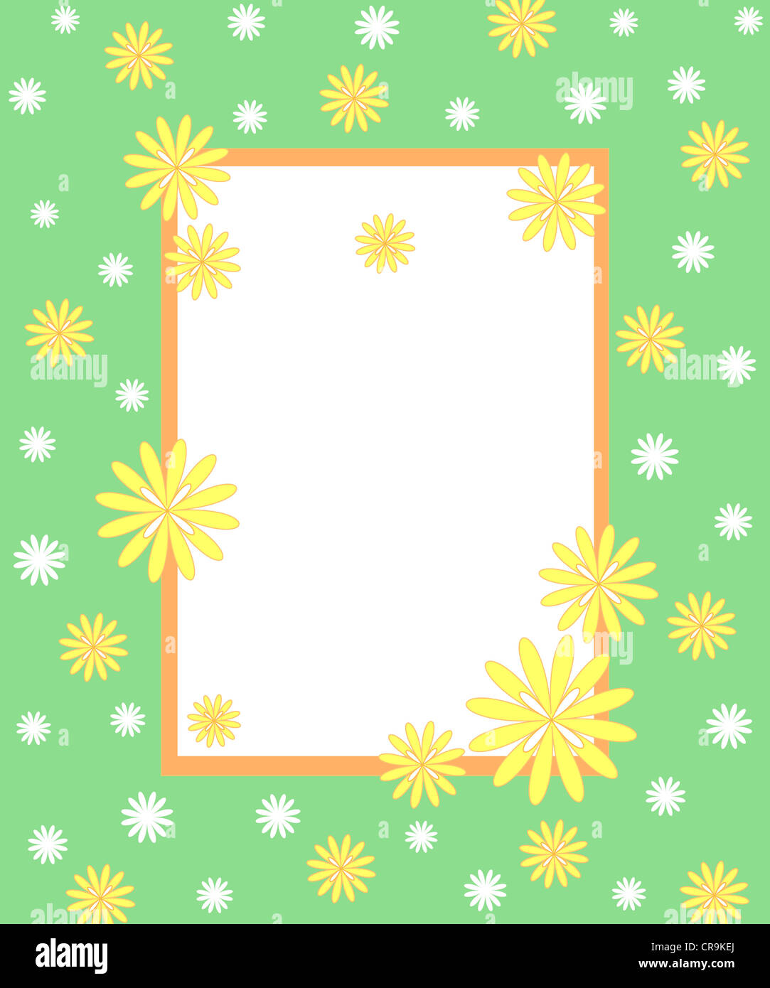 Floral pattern with green frame Stock Photo