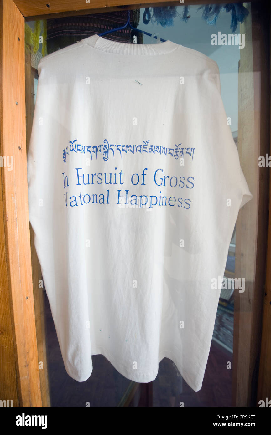 In Pursuit of Gross National Happiness t-shirt, Thimphu (capital city), Bhutan, Asia - Stock Image