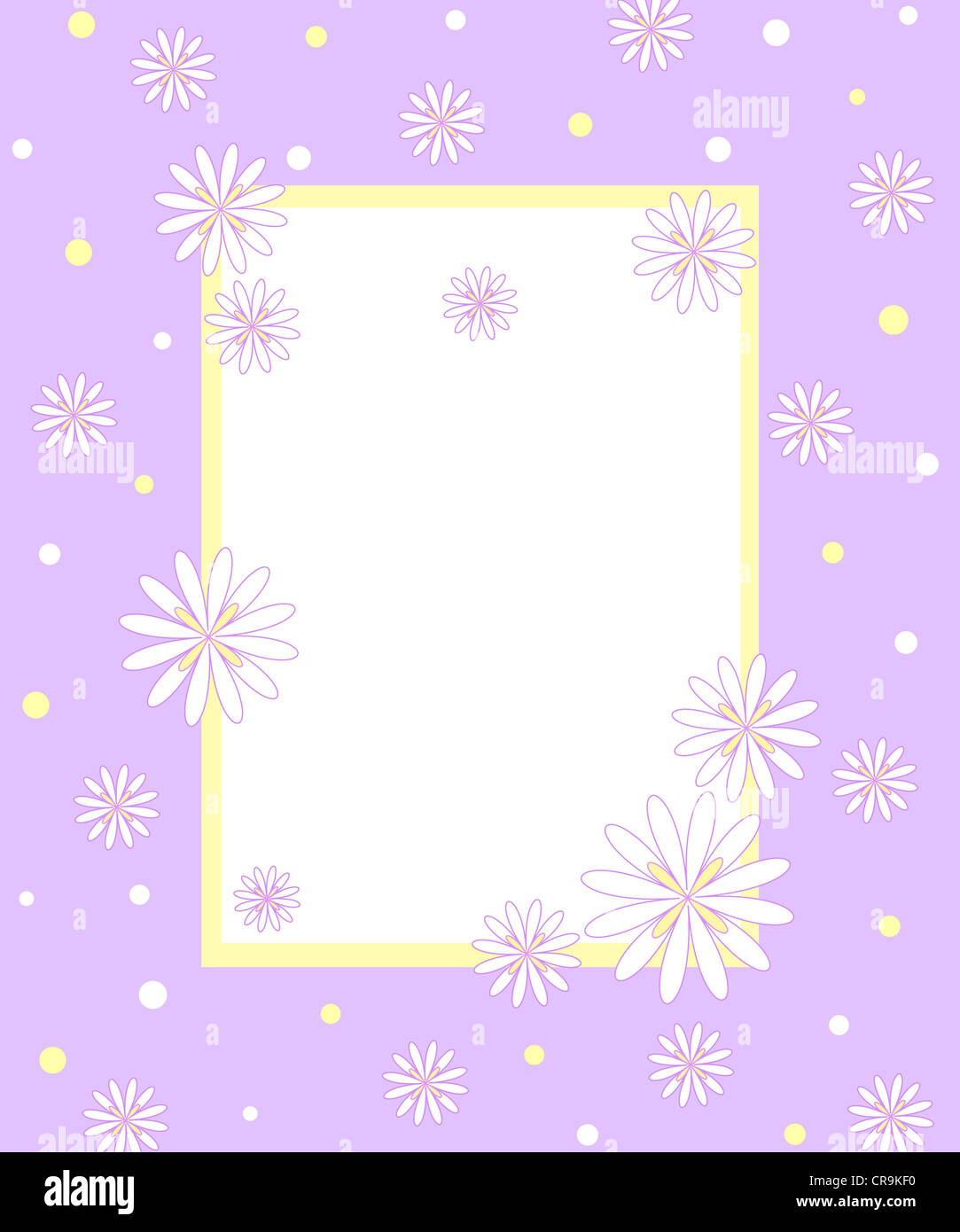 Floral pattern with violet frame Stock Photo