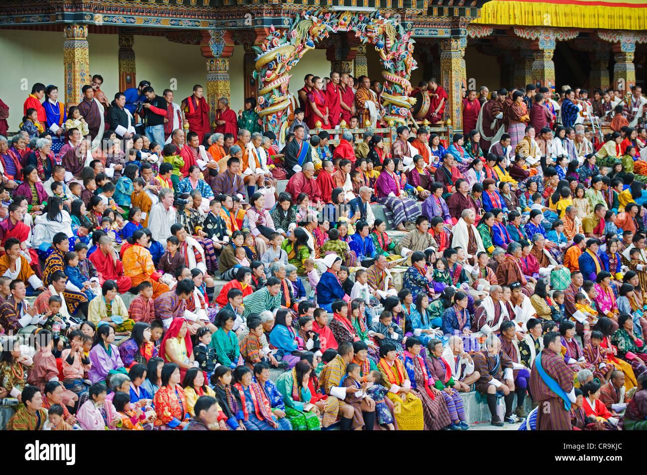 Autumn Tsechu festival at Trashi Chhoe Dzong, Thimpu, Bhutan, Asia Stock Photo
