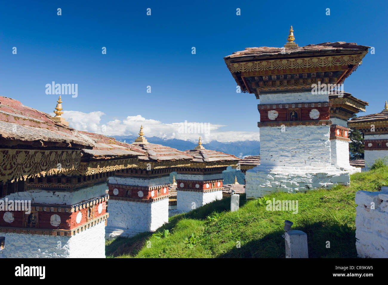 site of 108 chortens built in 2005 to commemorate a battle with militants, Dochu La pass (3140m), Bhutan, Asia - Stock Image