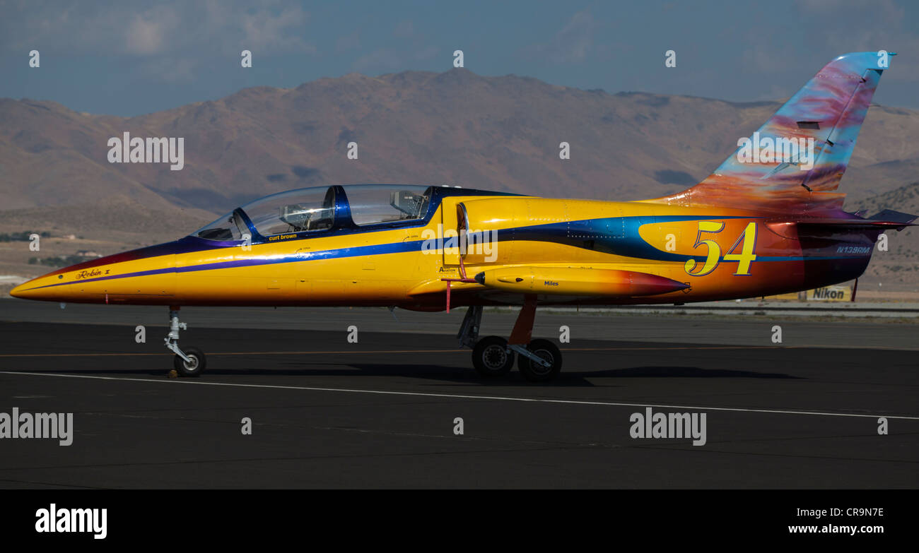 L-39 Albatross on display at the 2011 National Championship Air Races in Reno Nevada - Stock Image