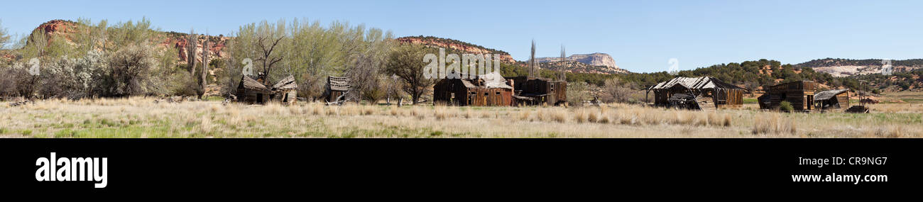 An old western film set in Johnson Canyon near Kanab in southern Utah USA - Stock Image