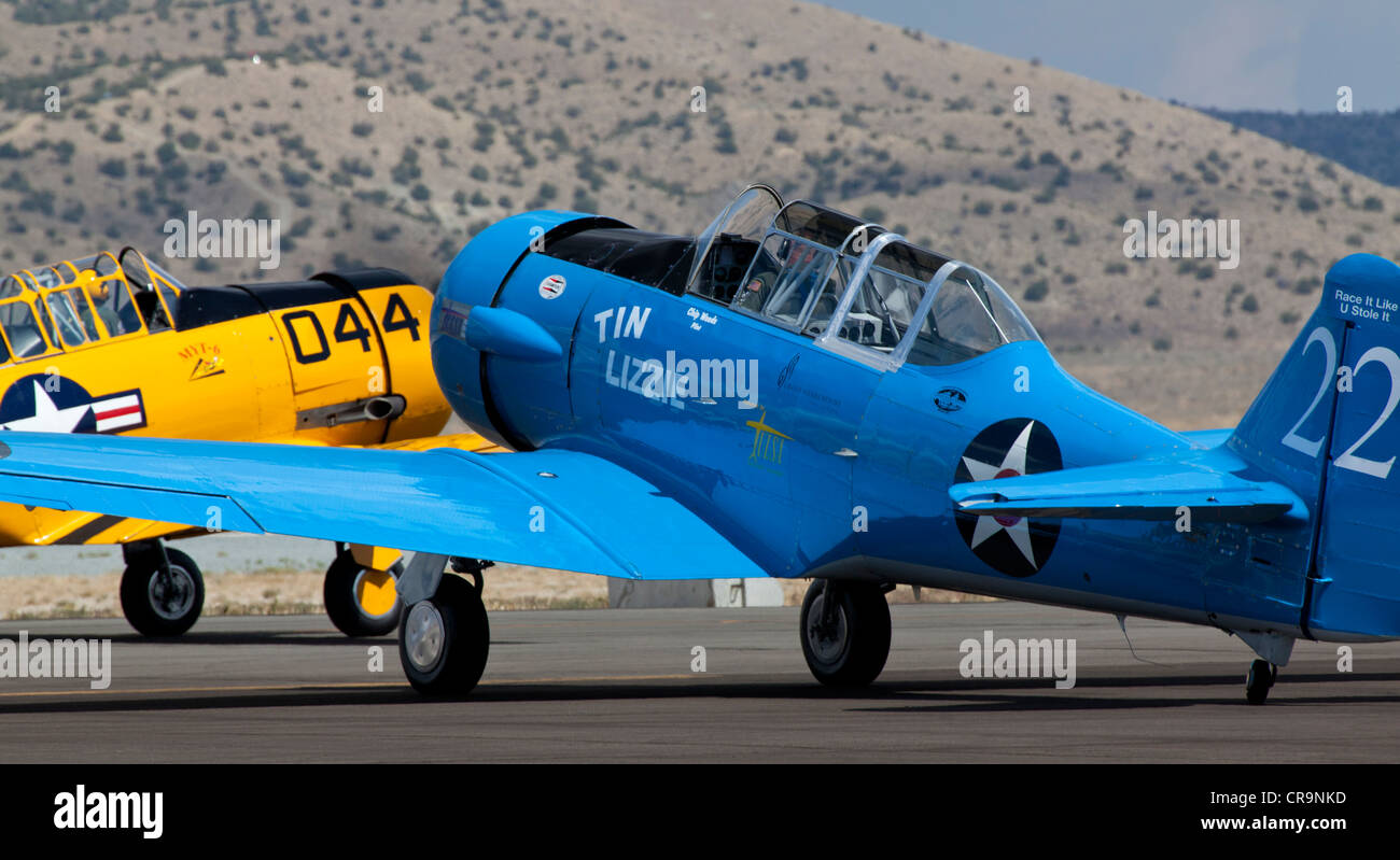 T-6 Texan taxiing at the 2011 National Championship Air Races in Reno Nevada - Stock Image