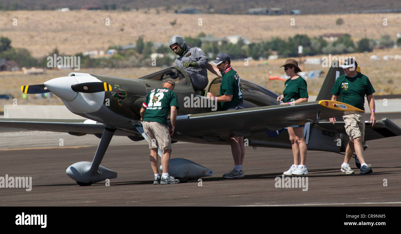 A racing team at the 2011 National Championship Air Races in Reno Nevada - Stock Image