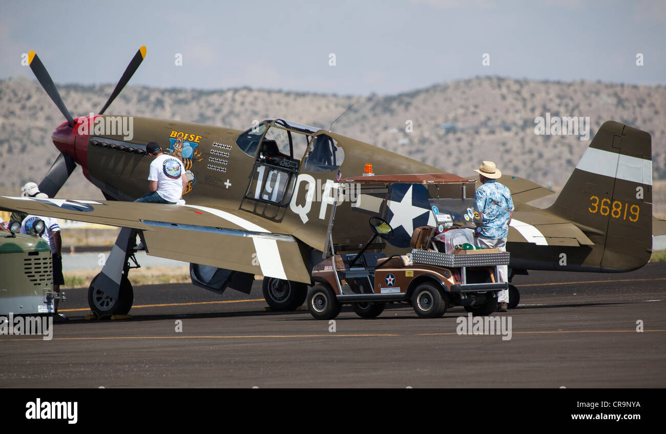 A  P-40 Warhawk at the 2011 National Championship Air Races in Reno Nevada - Stock Image