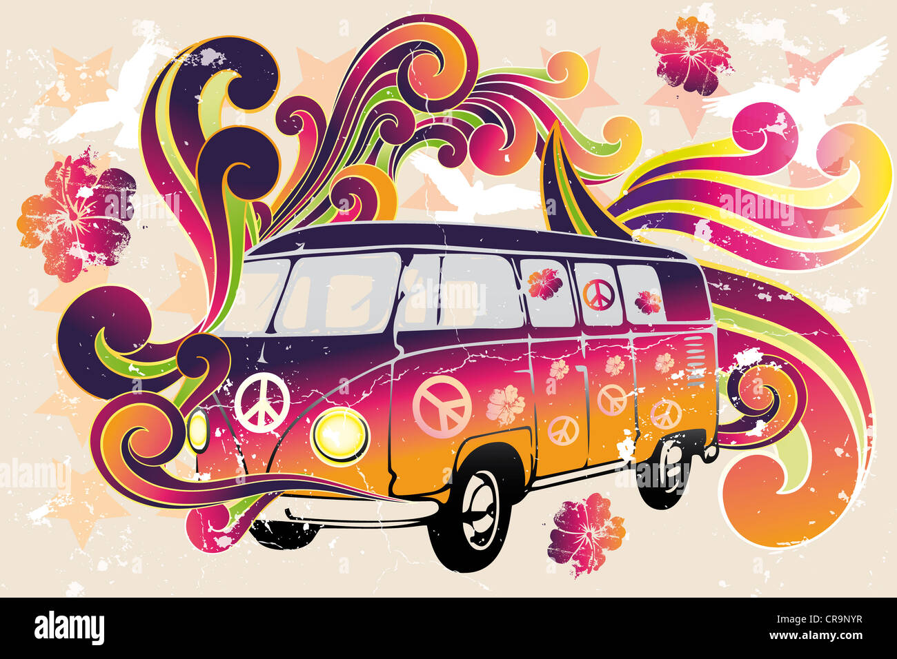 Retro van - flower power - van with colorful swirls, doves, peace signs and hibiscus as a vintage retro poster - Stock Image
