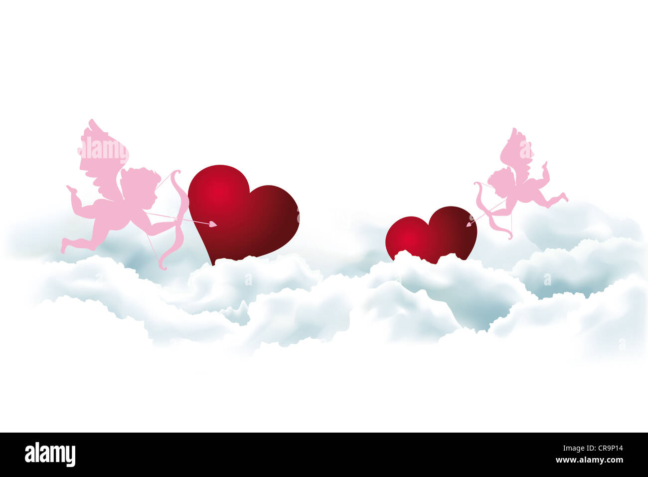 valentine s day card template with angels and hearts in clouds stock