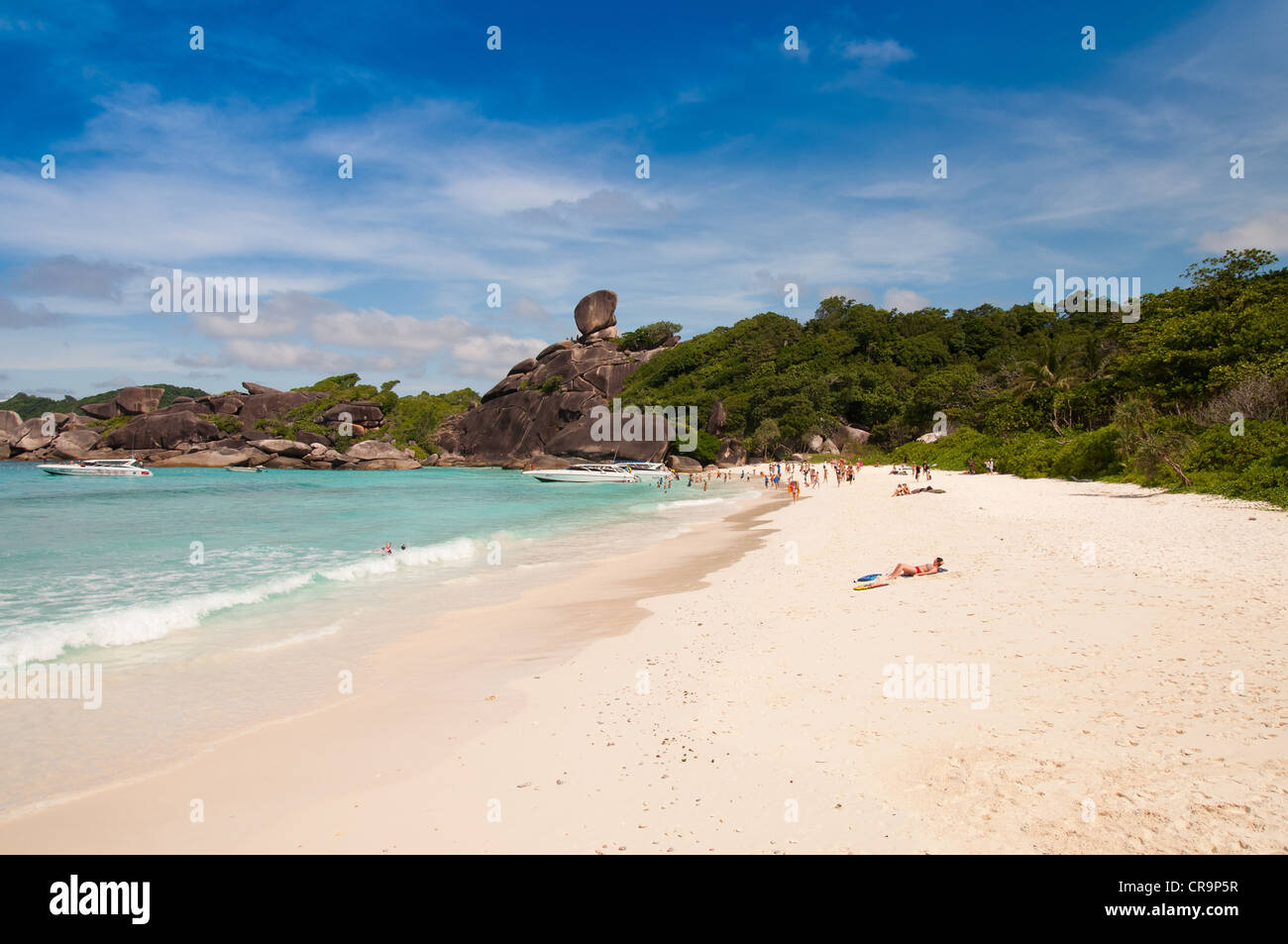Similan Island #8 with sail rock and white sand beach - Stock Image