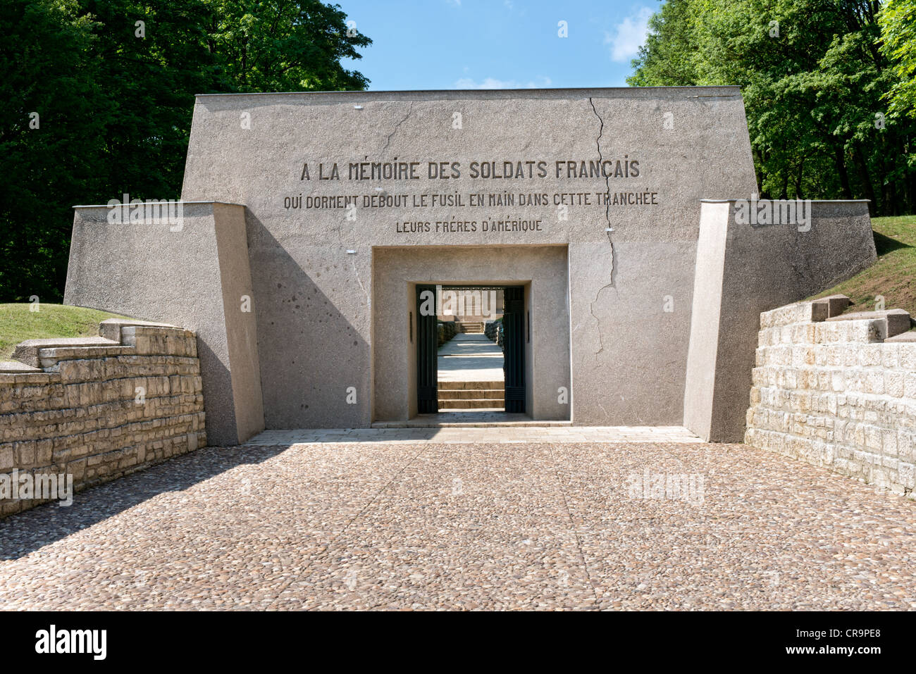 The entrance to the trench of bayonets memorial, Verdun, France - Stock Image