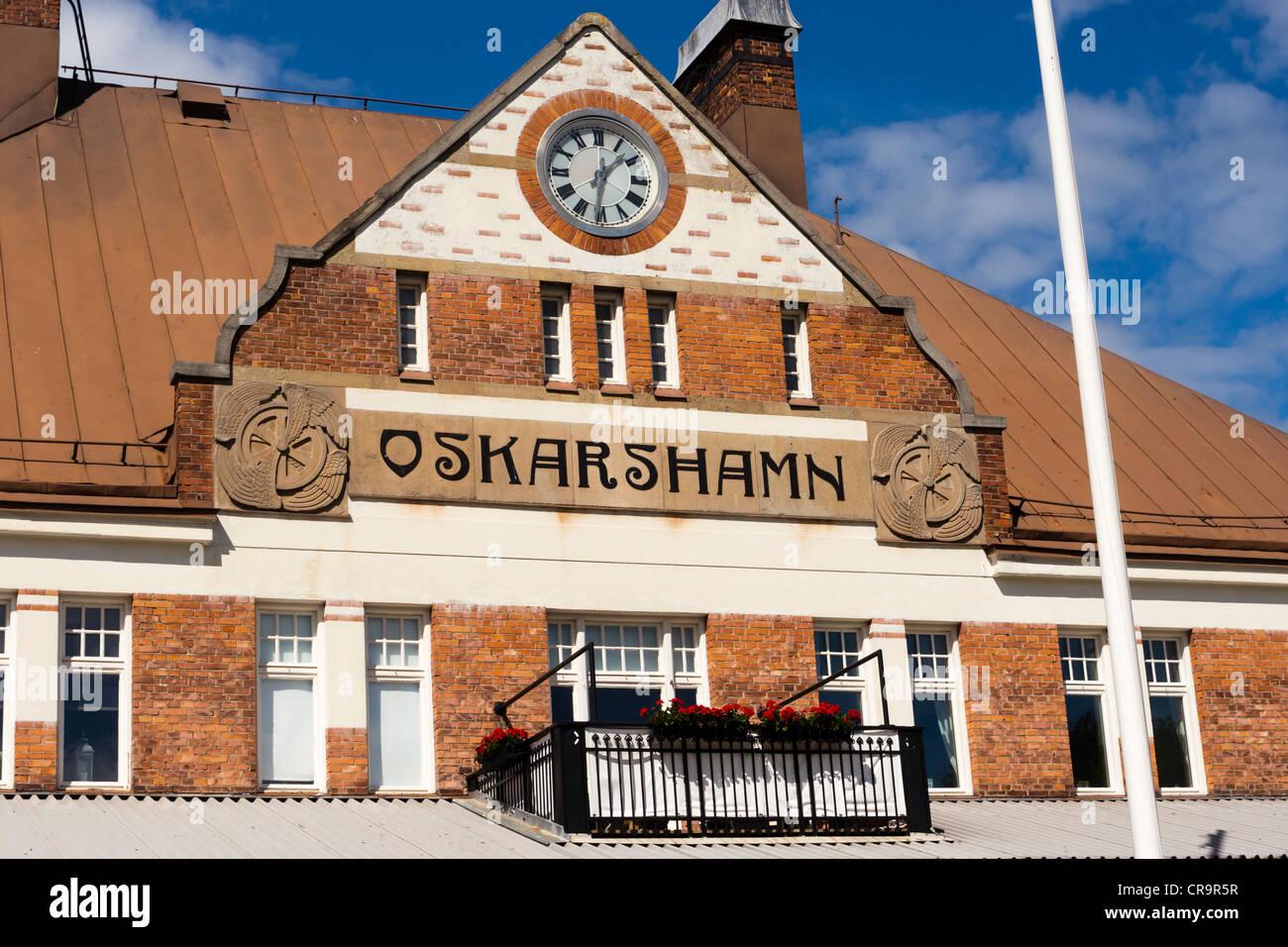 The railway station building of Oskarshamn / Sweden. - Stock Image