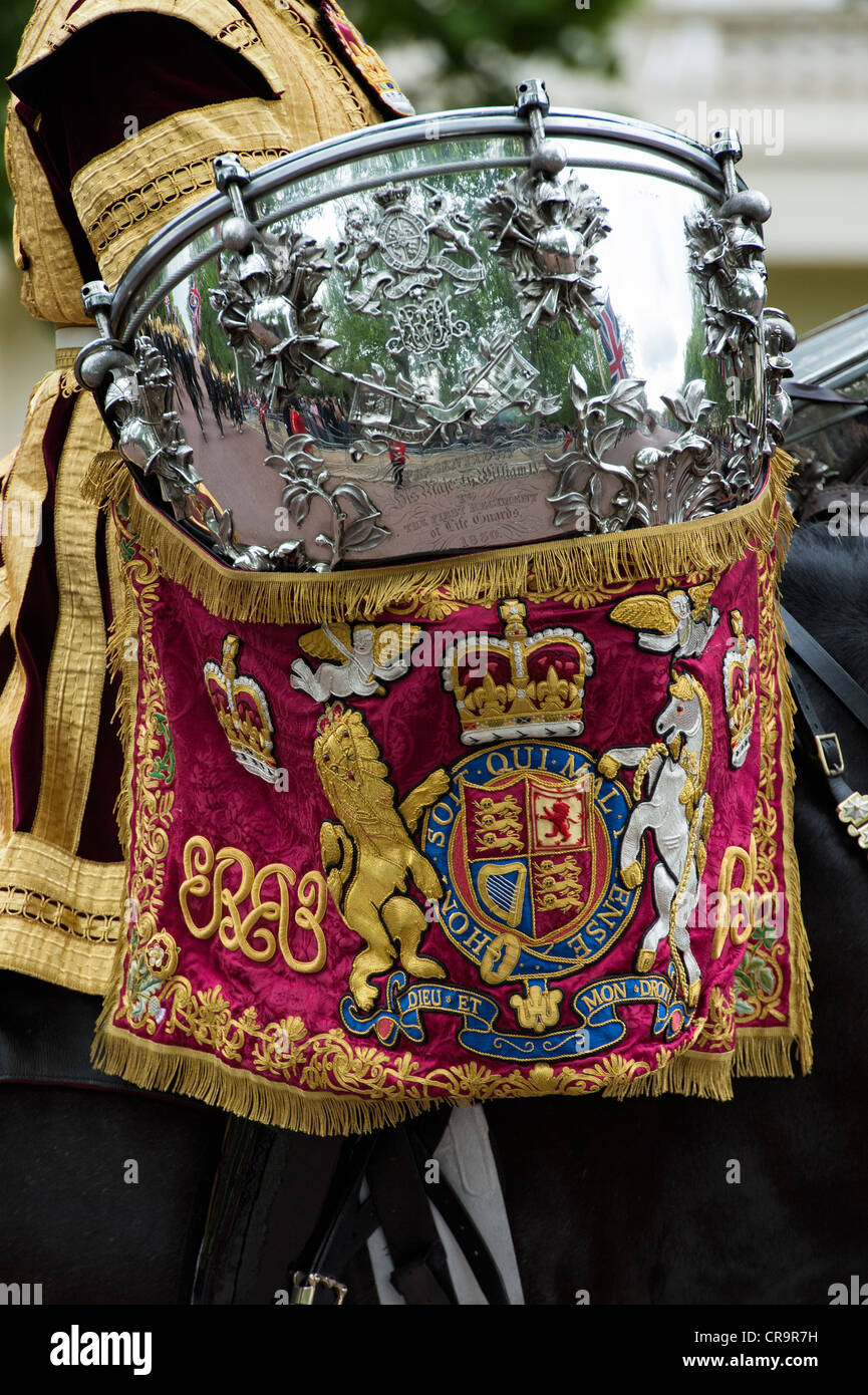 Royal Life guards ceremonial drum on horse back. Trooping The Colour to celebrate The Queen's Birthday. The Mall, Stock Photo
