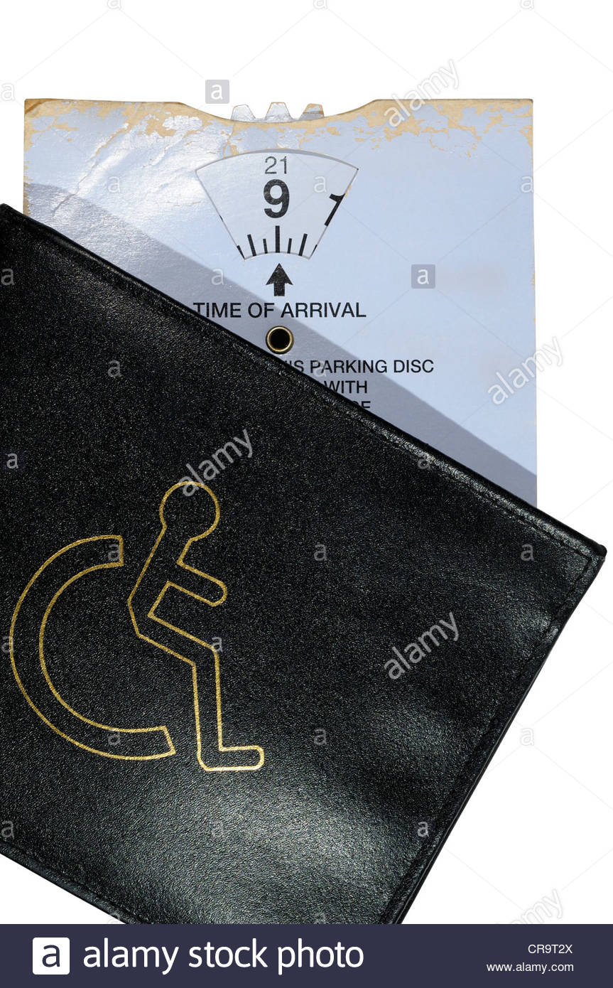 Disability Blue badge wallet and parking clock, England - Stock Image