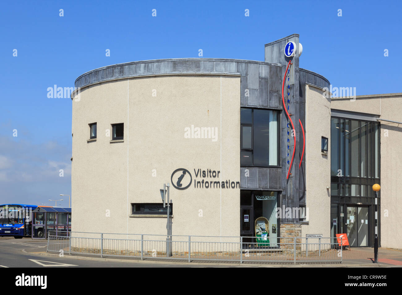 Modern Tourist Information Centre by the bus station in Kirkwall, Orkney Islands, Scotland, UK, Britain - Stock Image