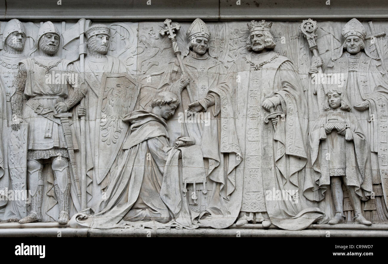 Supreme court stone carvings. London. England Stock Photo