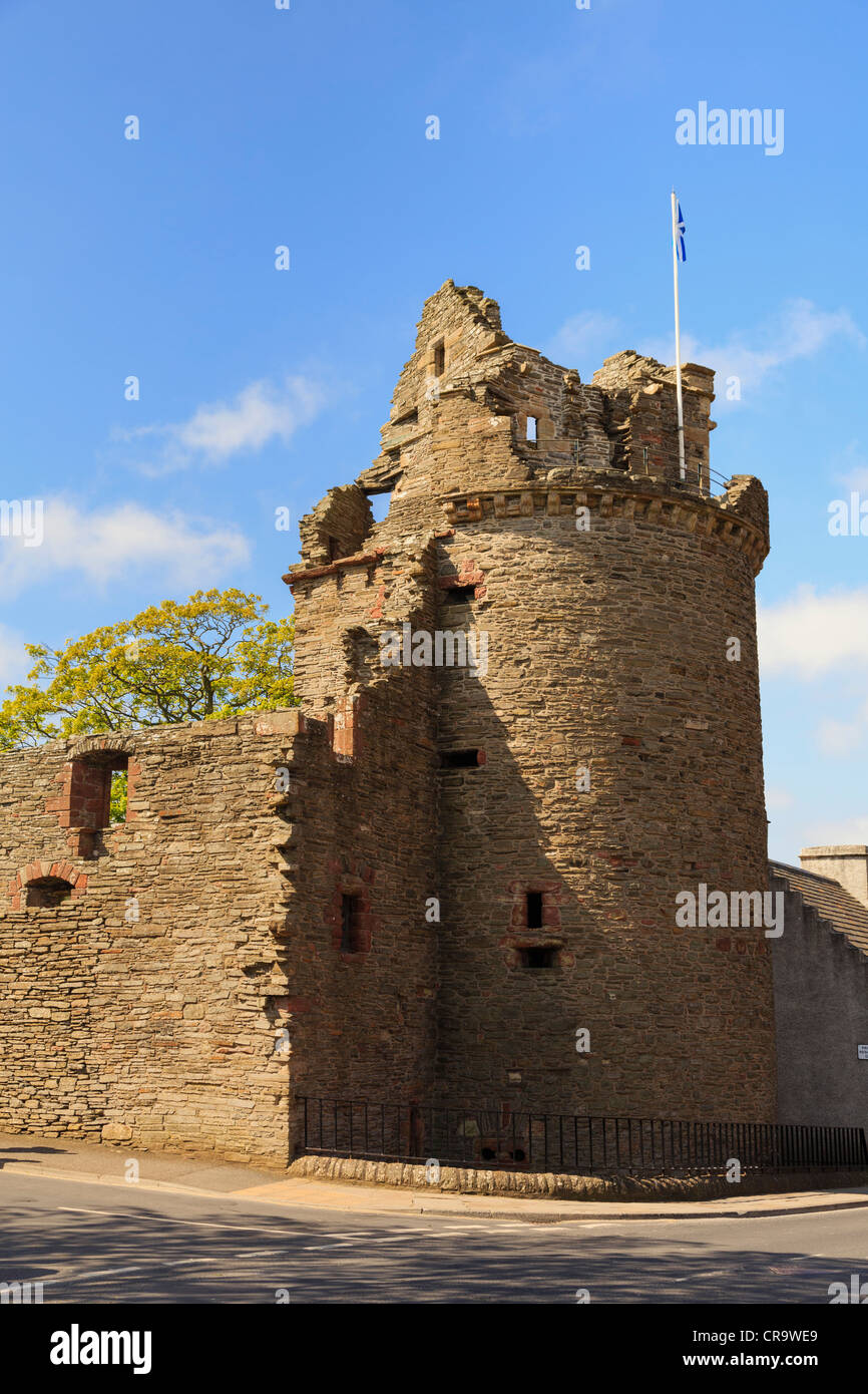 Remains of the round tower or Moosie Toor and 12th century Bishop's Palace ruins in Kirkwall, Orkney Mainland, - Stock Image