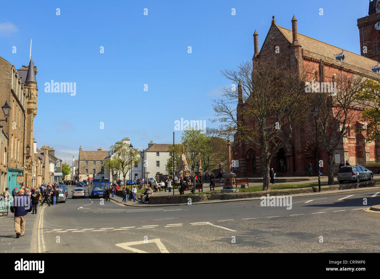 Street scene at Kirk Green outside St Magnus cathedral in capital town. Kirkwall Orkney Islands Scotland UK - Stock Image