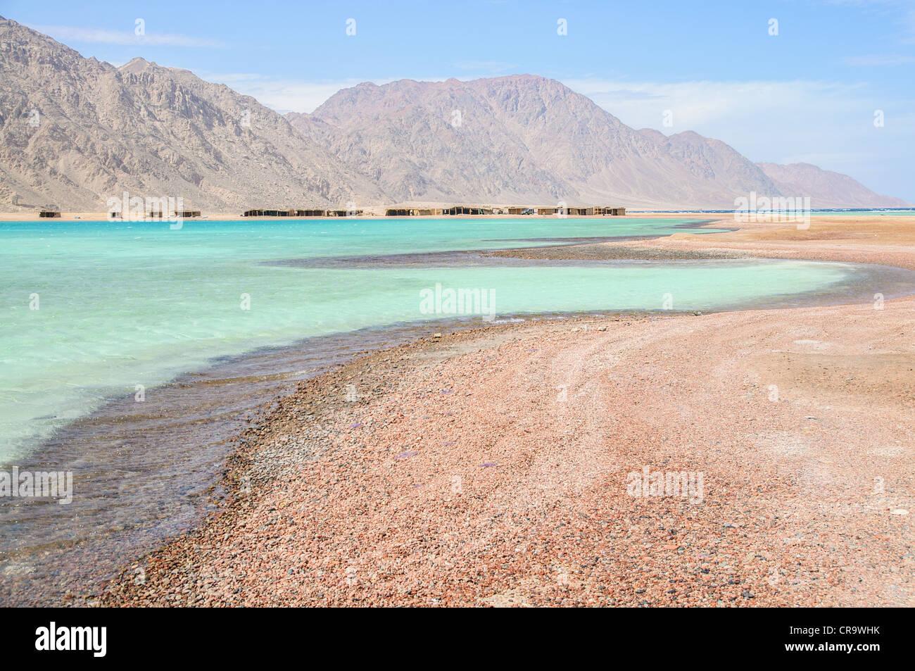 scenic lagoon in the Red Sea near Ras Abu Galum - Stock Image