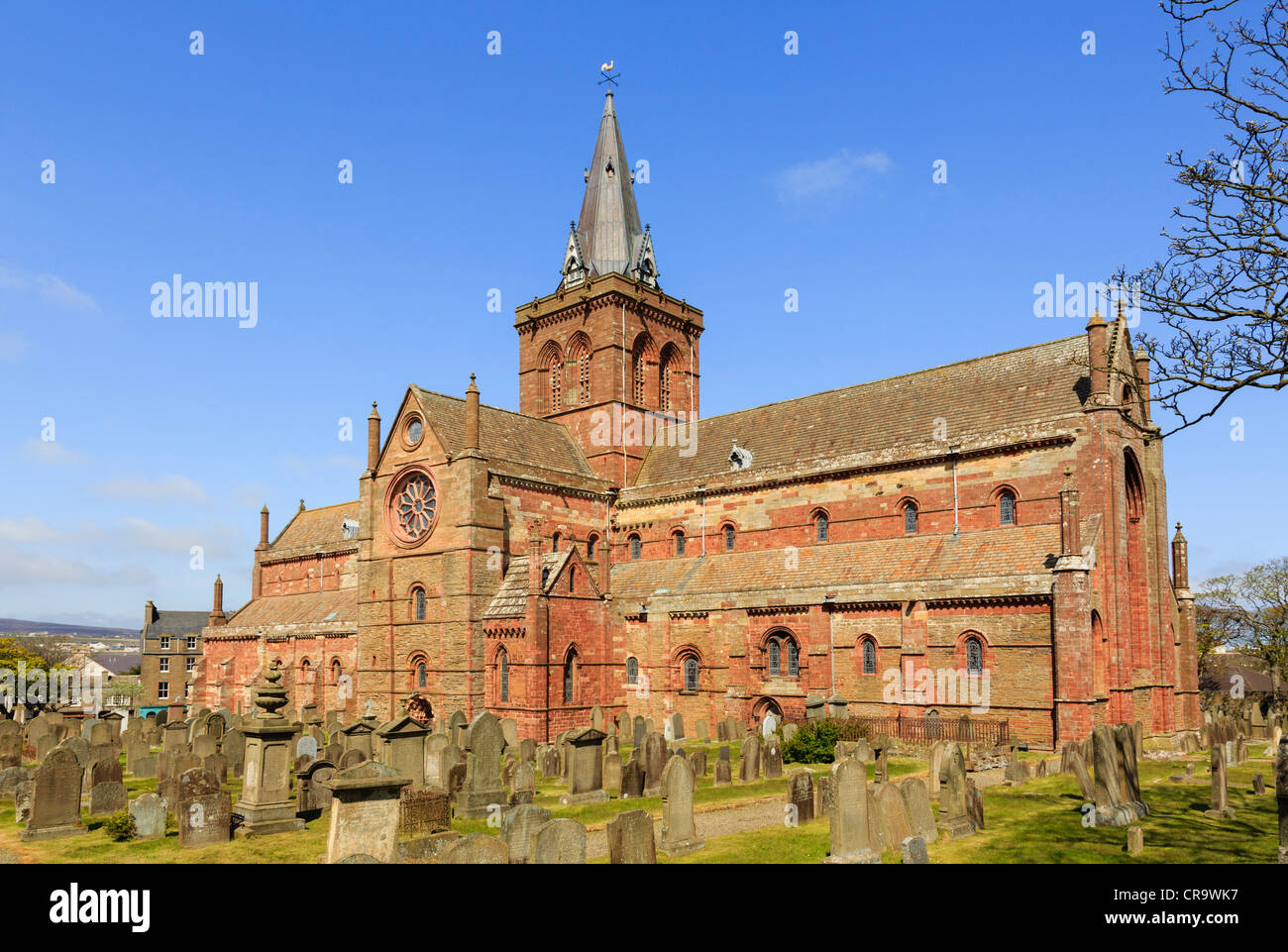 12th century Romanesque Saint Magnus cathedral in Kirkwall, Orkney Islands, Scotland, UK is most northerly in Britain - Stock Image