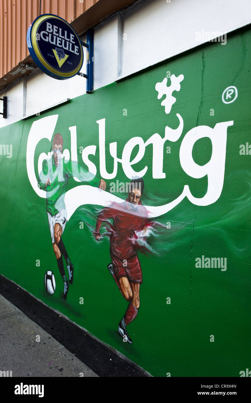 Carlsberg Euro 2012 soccer wall painting, Montreal, Quebec, Canada. - Stock Image