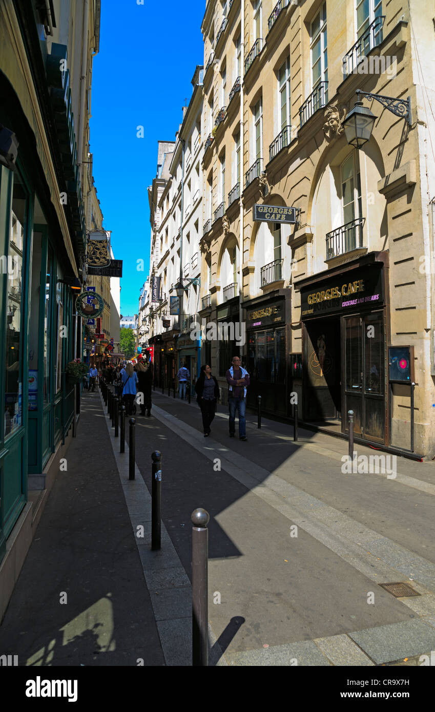Rue de la Hutchette, Paris. One of the oldest streets on the Left Bank in the Latin Quarter. - Stock Image