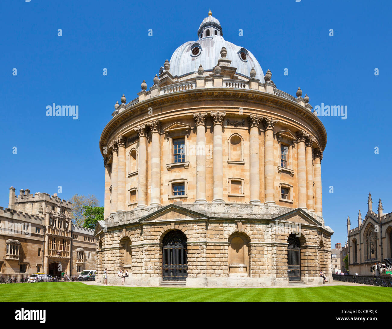 Radcliffe Camera walls of Brasenose and All Souls Colleges and rooftops of the University city of Oxford, Oxfordshire, - Stock Image