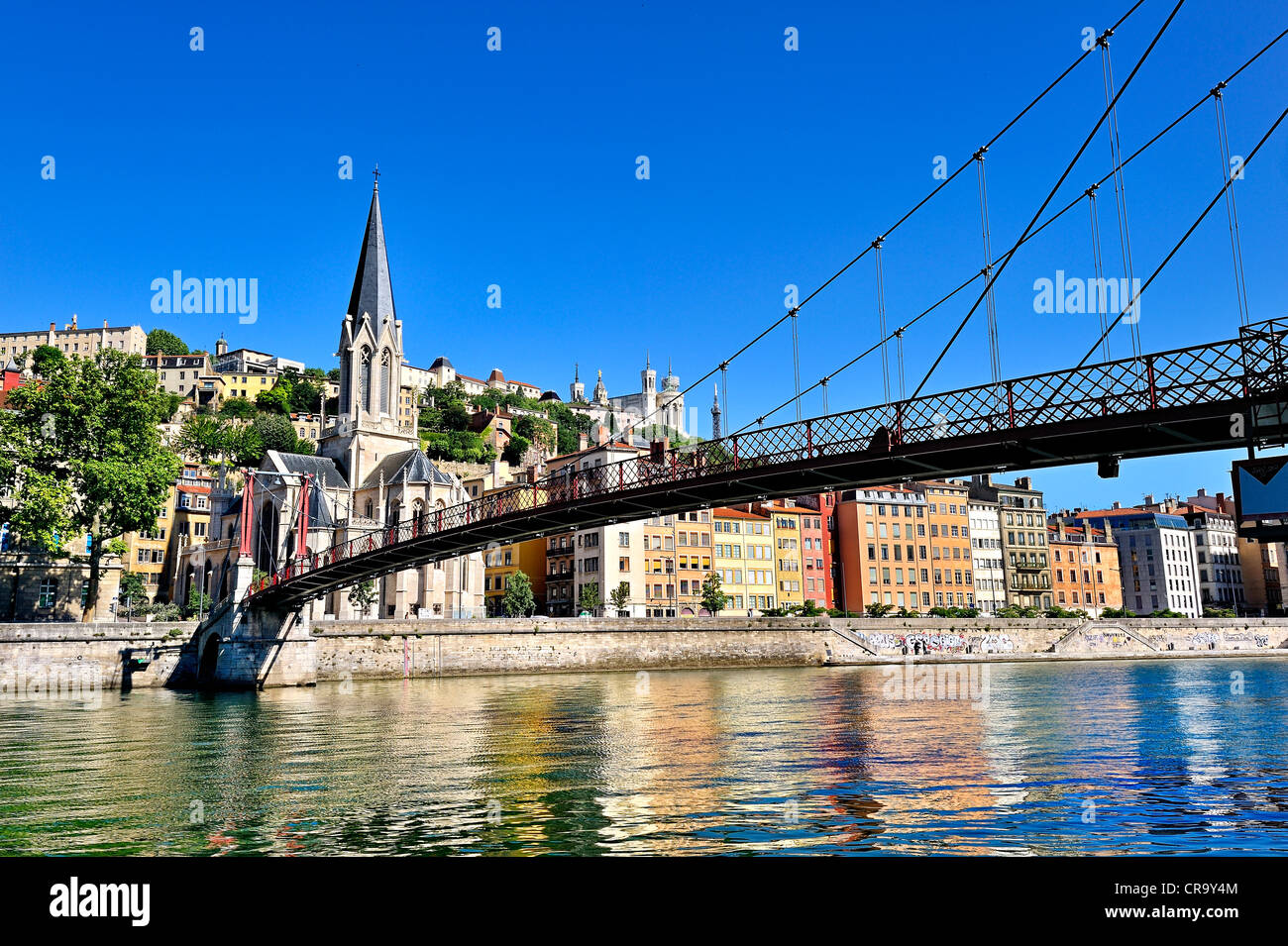 Pedestrian passerelle over the river Saone, Lyon, France. - Stock Image