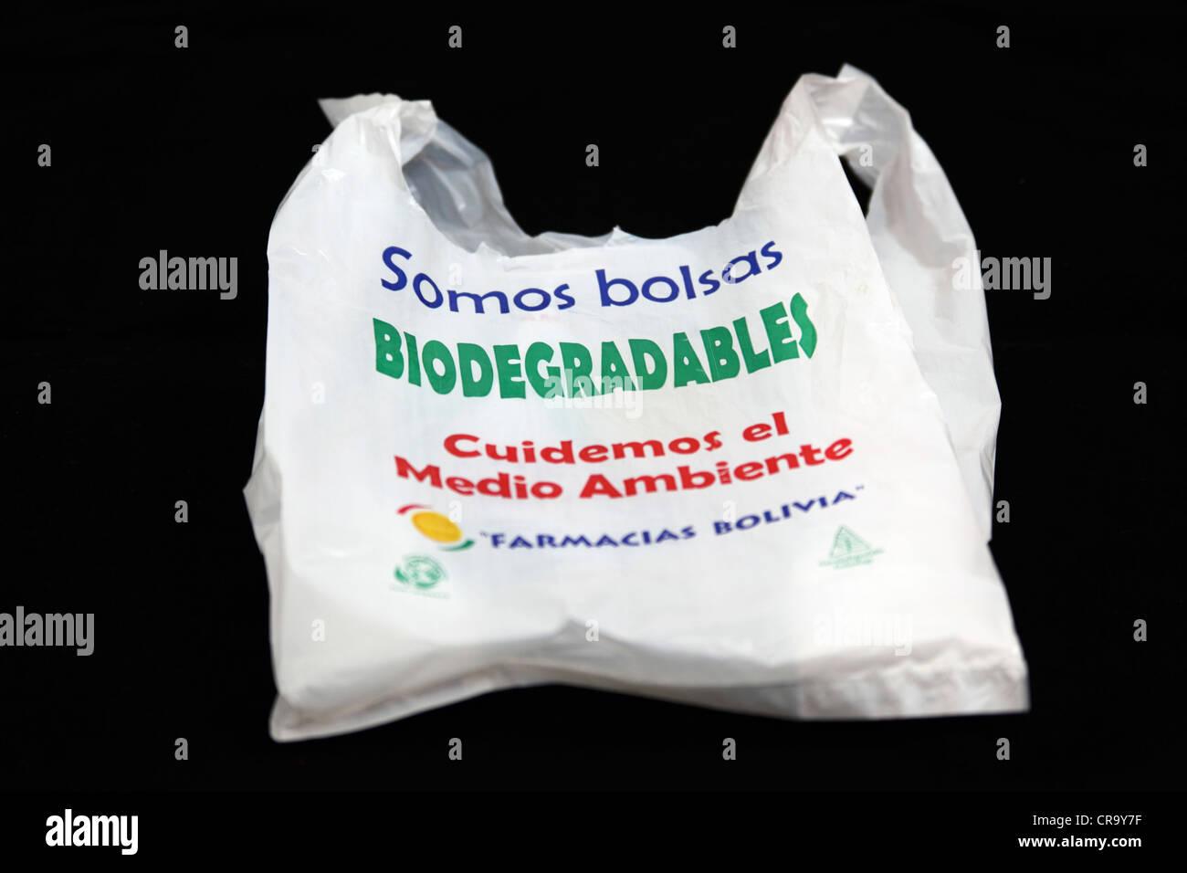 dbca18300 Biodegradable plastic bag provided by Farmacias Bolivia, a Bolivian chain  of chemist shops
