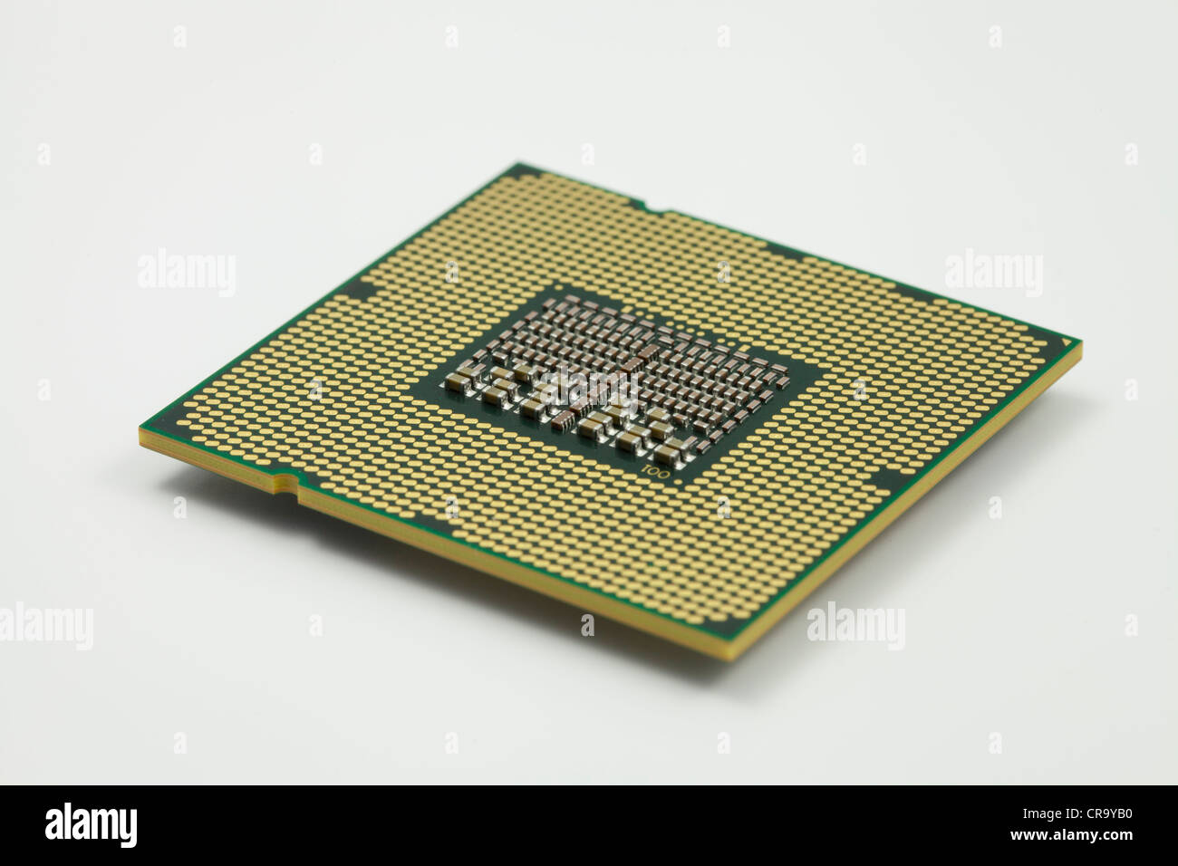 close up of a Xeon CPU chip on a white background - Stock Image