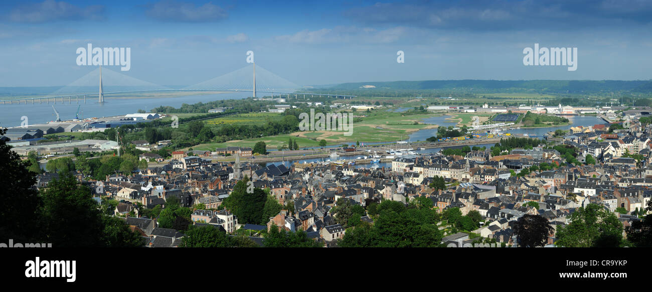 Panoramic view of Honfleur Normandy France with Le Pont de Normandie - Stock Image