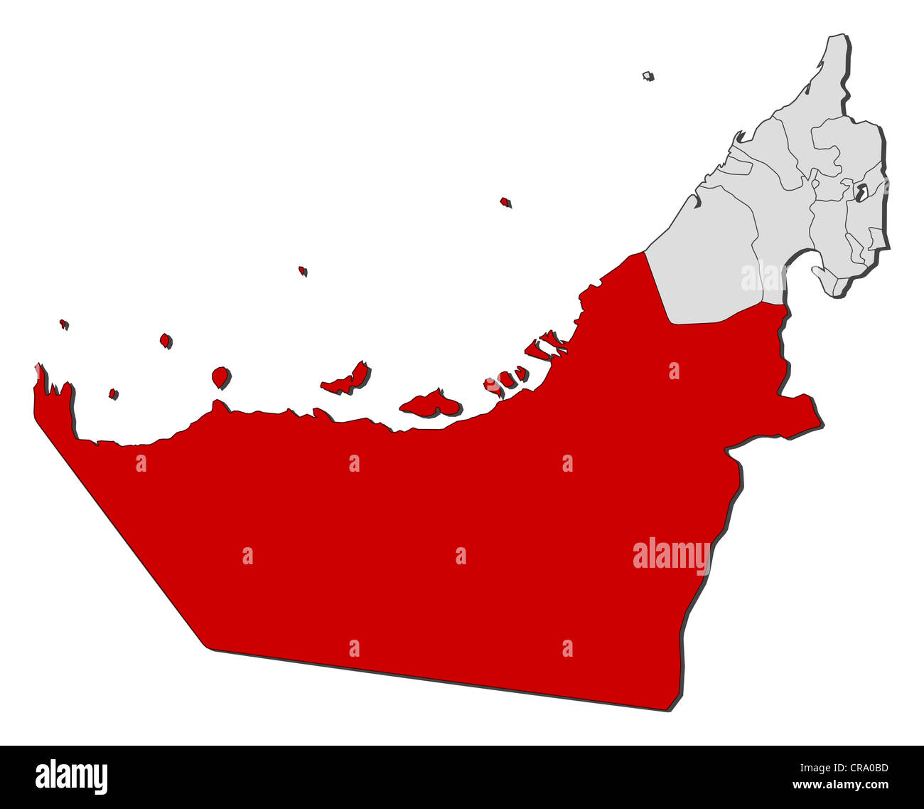 Political map of the United Arab Emirates with the several emirates where Abu Dhabi is highlighted. - Stock Image