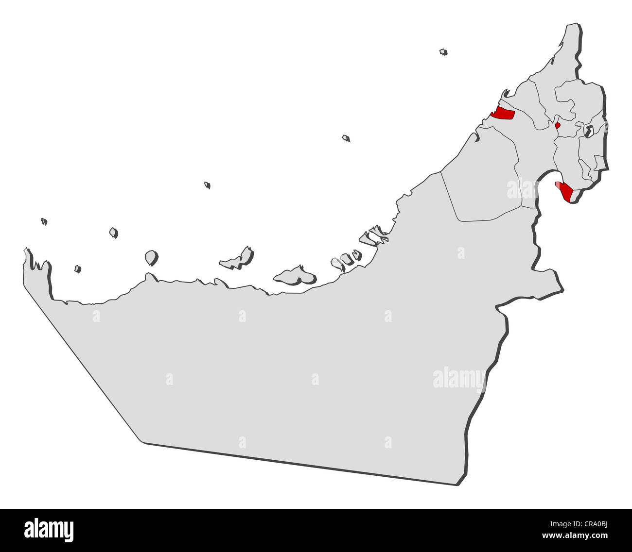 Political map of the United Arab Emirates with the several emirates where Ajman is highlighted. - Stock Image