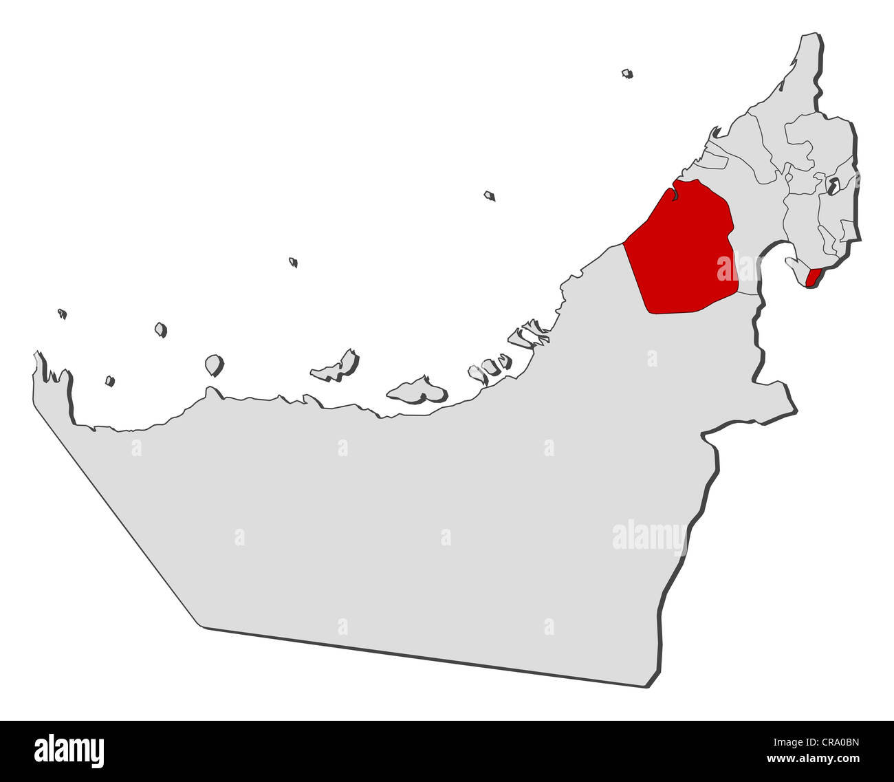 Political map of the United Arab Emirates with the several emirates where Dubai is highlighted. - Stock Image