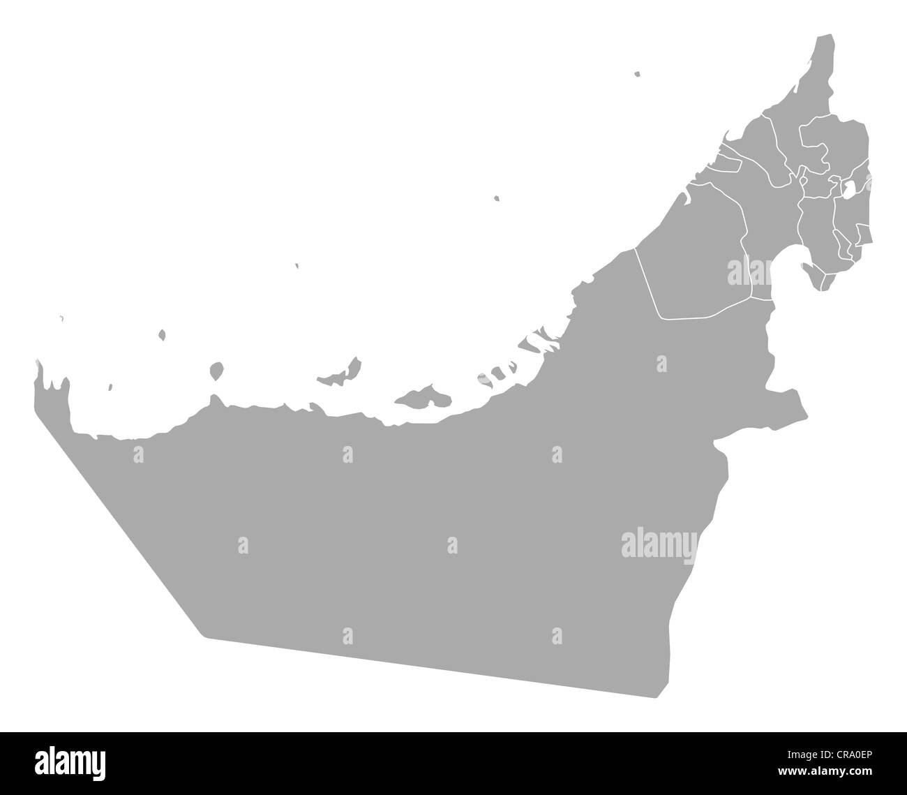 Political map of the United Arab Emirates with the several emerats. - Stock Image