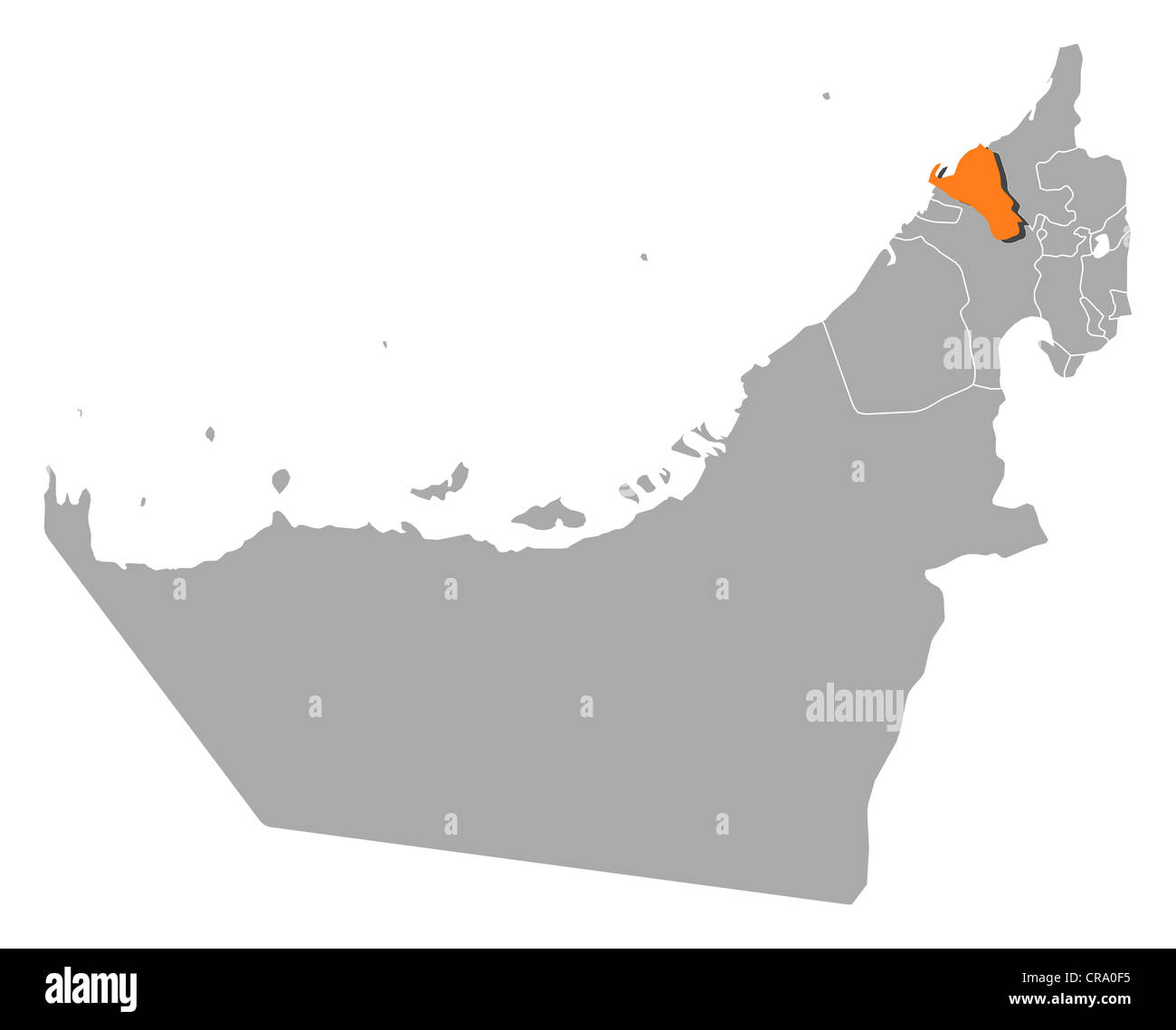 Political map of the United Arab Emirates with the several emirates where Umm al-Quwain is highlighted. - Stock Image