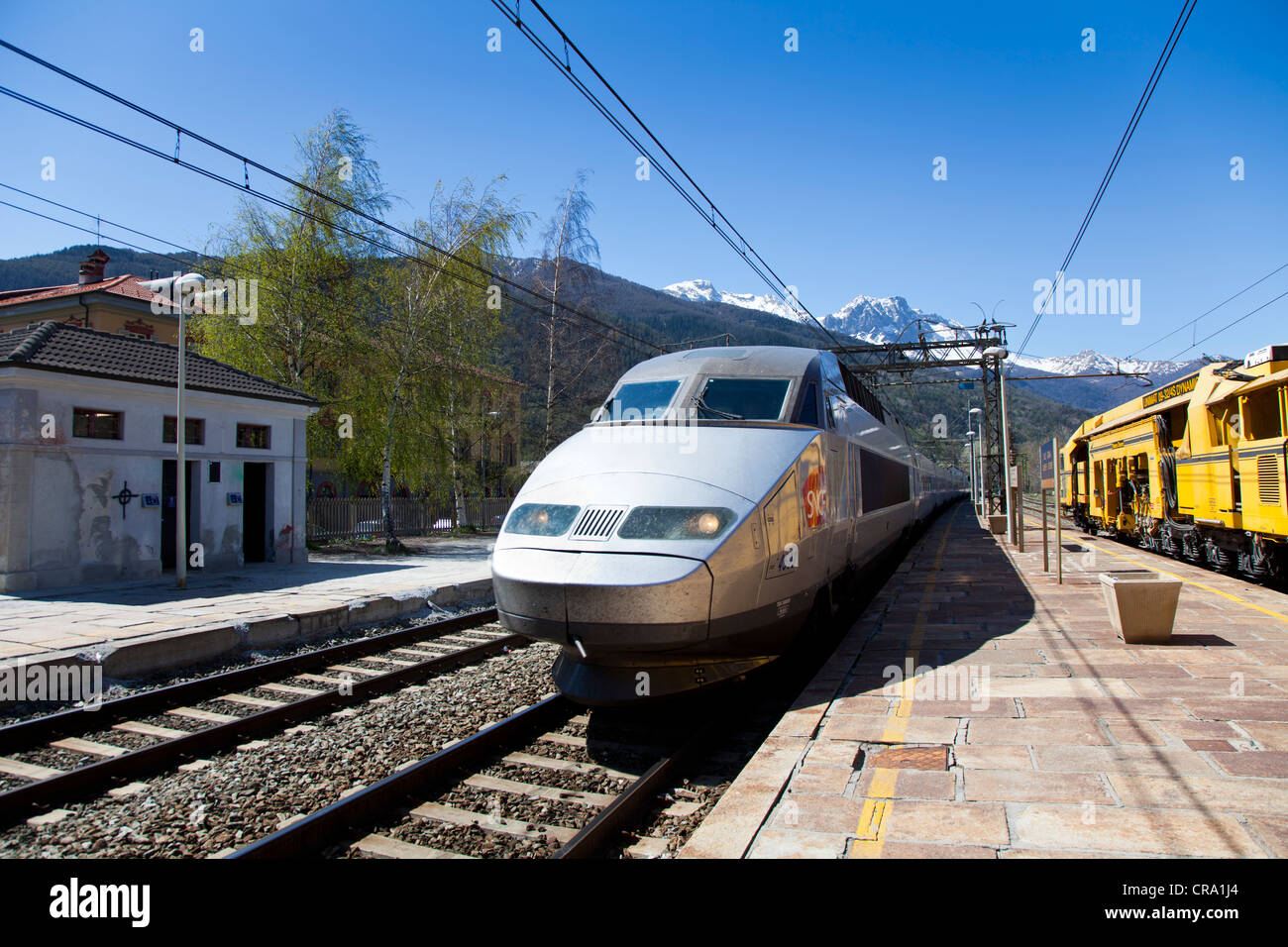 SNCF TGV train in Oulx station, Piemonte, Italy - Stock Image
