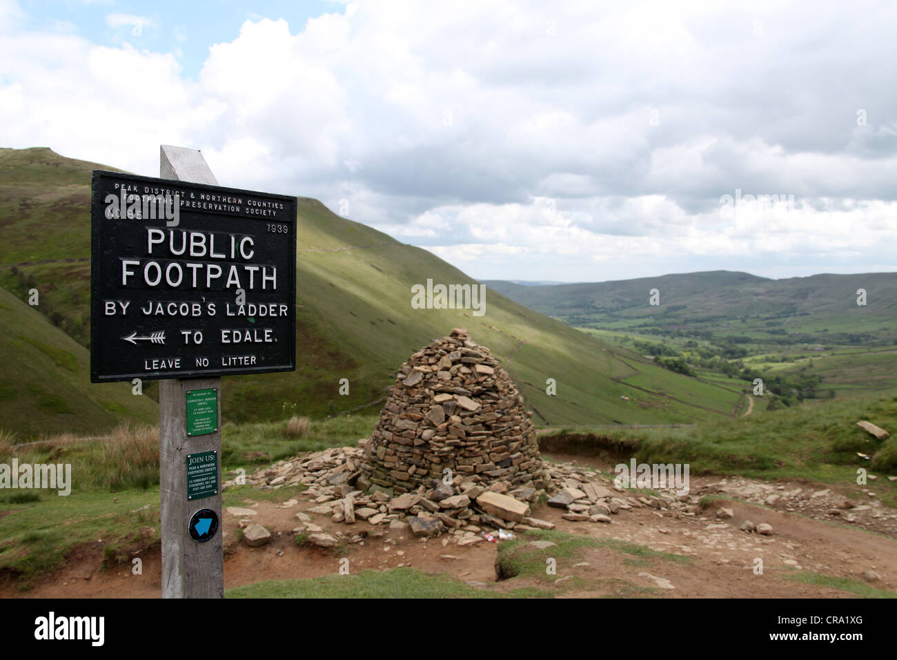 Public Footpath Sign on Kinder Scout - Stock Image