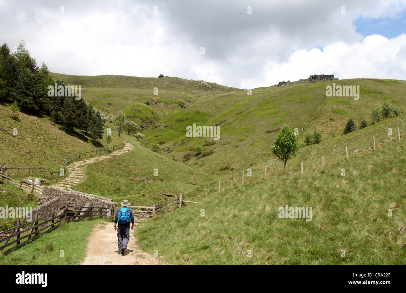 Hiking in the Peak District National Park to Kinder Scout - Stock Image