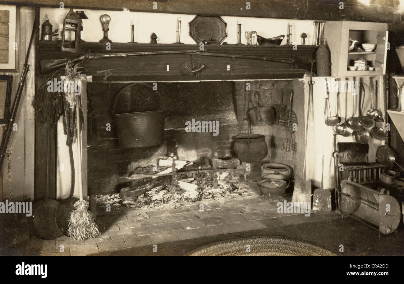 colonial kitchen cooking fireplace stock photo 48779289 alamy