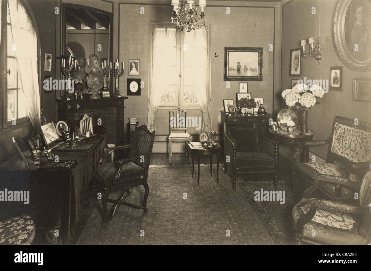 Interior of Wealthy Family's Salon c. 1910 - Stock Image
