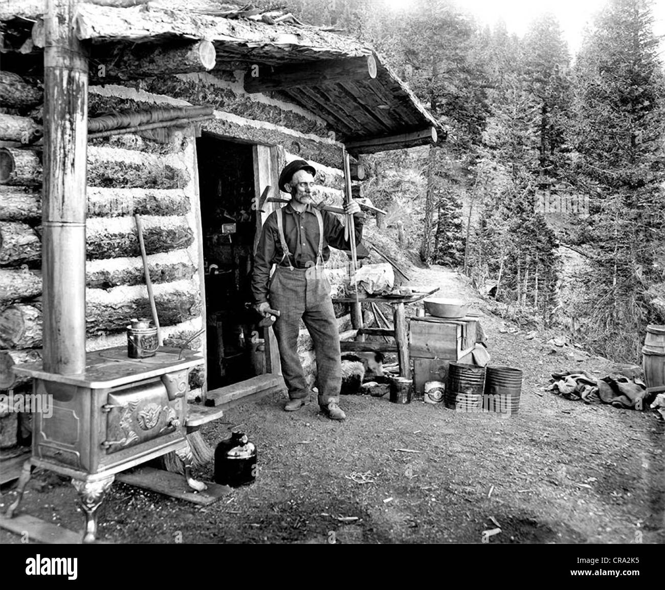 Older Working Man in front of Log Cabin - Stock Image