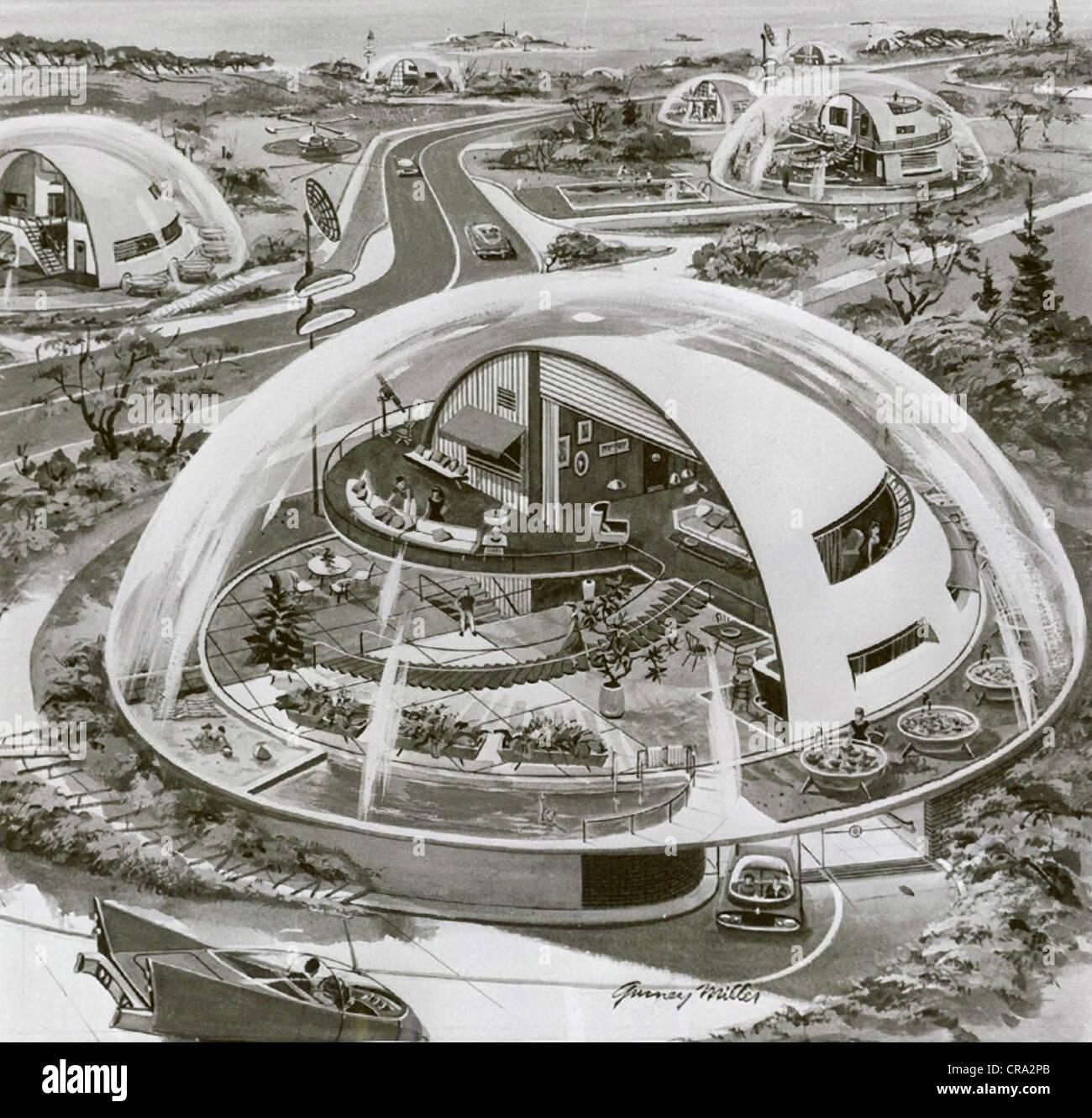 Dome House Futuristic: Futuristic Drawing Of House Of The Future Stock Photo