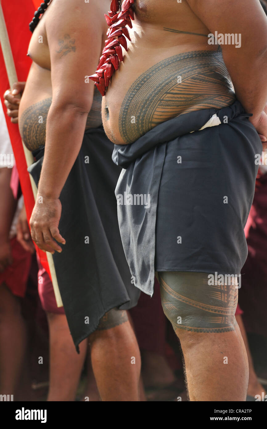 The Samoan tattoo - tatau - on display at celebrations of Samoa's 50 years of independence - Stock Image