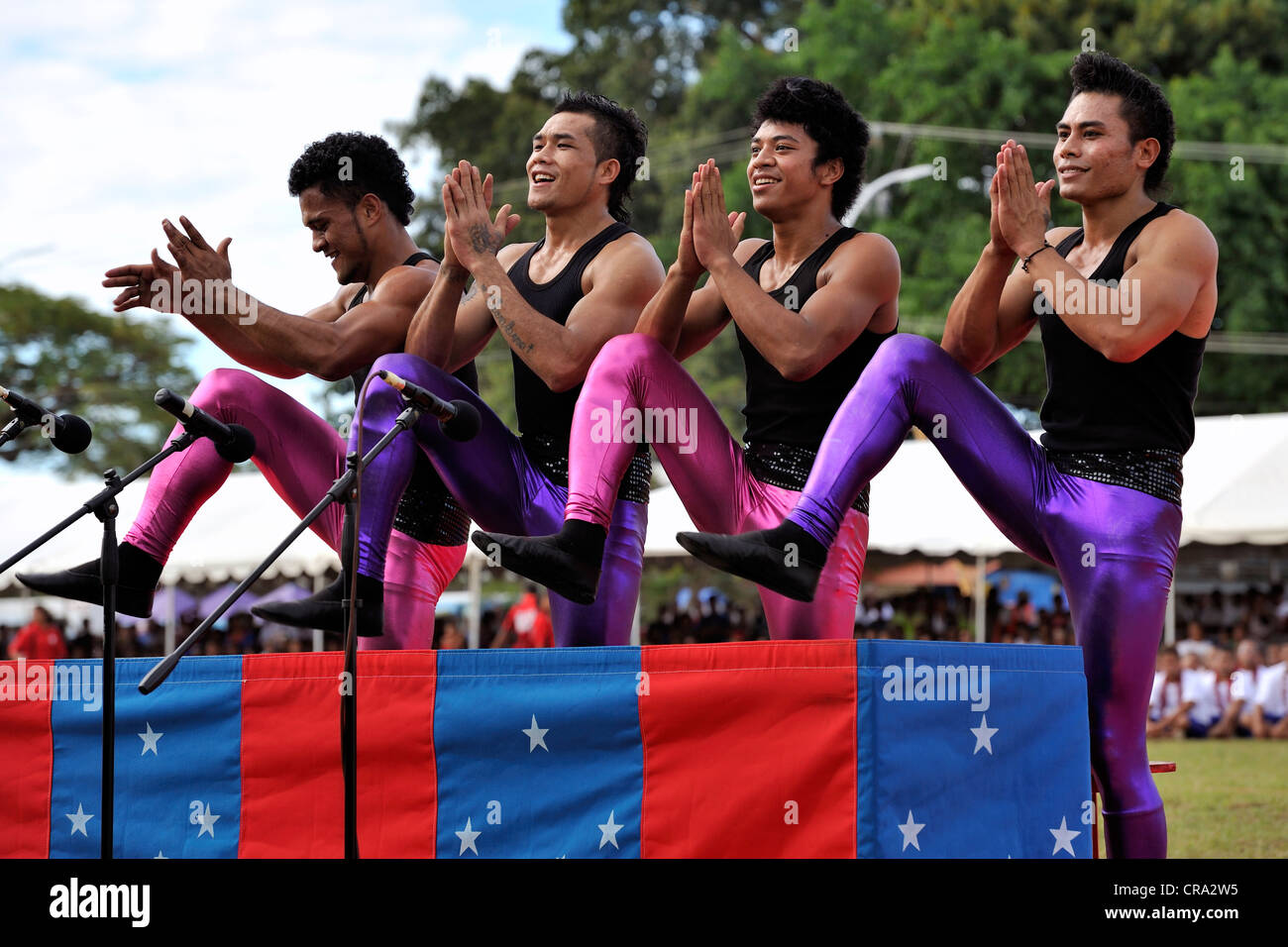 One of the cultural performances at celebrations of Samoa's 50 years of independence - Stock Image