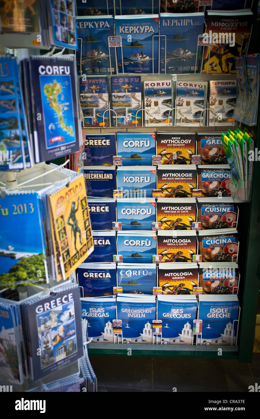 Greek and Corfu Guide Books and Maps - Stock Image