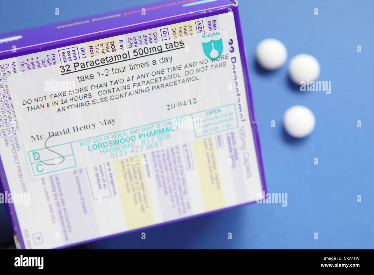 Paracetamol 500 mg tablets medication packet with patient