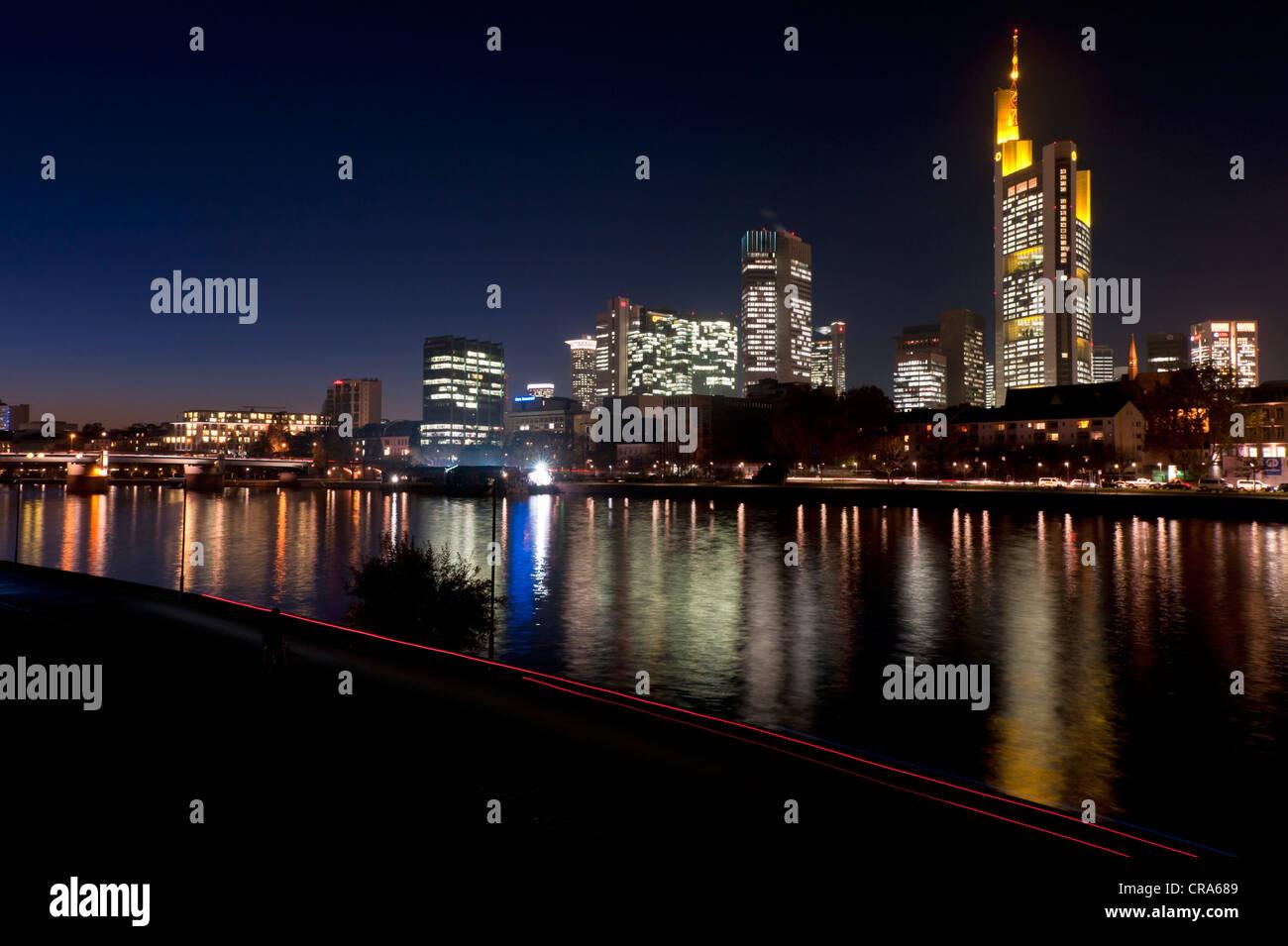 Skyline of the Bankenviertel financial district at night, Frankfurt am Main, Hesse, Germany, Europe - Stock Image