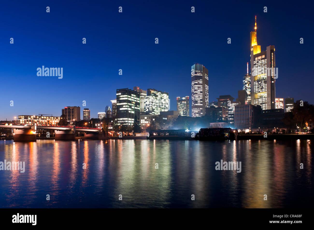 Skyline of the Bankenviertel financial district at dusk, Frankfurt am Main, Hesse, Germany, Europe - Stock Image